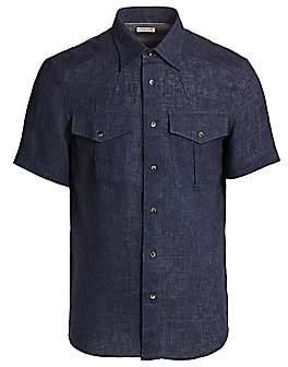 Brunello Cucinelli Men's Linen Short-Sleeve Shirt