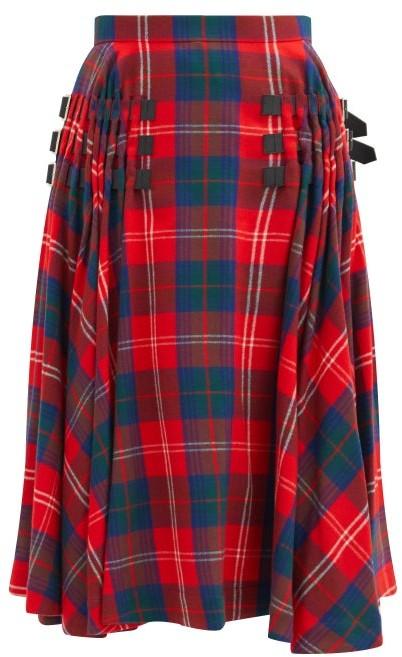 Noir Kei Ninomiya Buckled-strap High-rise Tartan Wool-blend Skirt - Red Multi