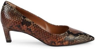 Aquatalia Marianna Weatherproof Snakeskin-Print Leather Pumps