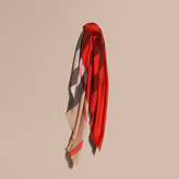 Burberry Lightweight Silk Wool Blend Check Square Scarf, Red