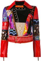 Roberto Cavalli patchwork biker jacket - women - Silk/Lamb Skin - 40