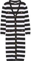 Moschino Striped Open-knit Cotton Cardigan - Black