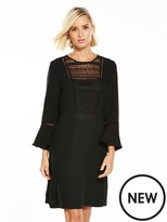 Warehouse Lace And Crepe Mix Dress