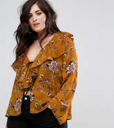 Missguided Plus Floral Print Ruffle Front Blouse