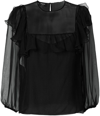 Rochas Sheer Ruffle-Trim Blouse