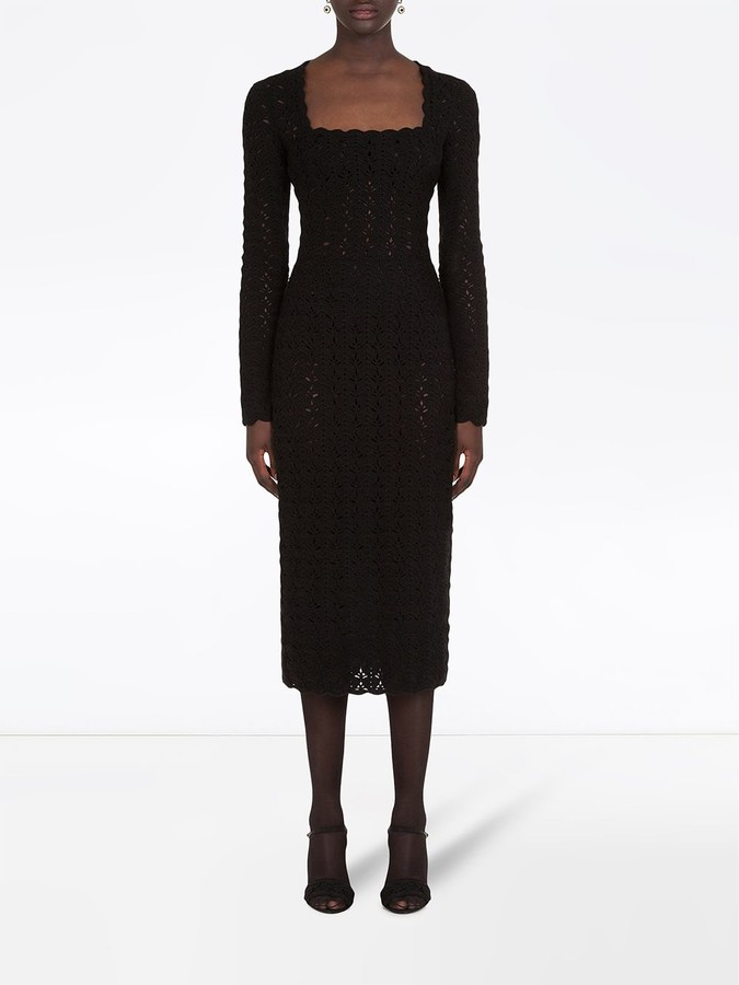 Thumbnail for your product : Dolce & Gabbana Square-Neck Pointelle-Knit Dress