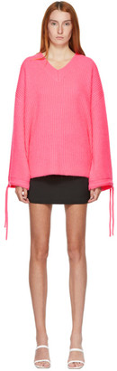 MSGM Pink Alpaca V-Neck Sweater