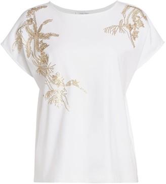Joan Vass Sequin Embroidered T-Shirt
