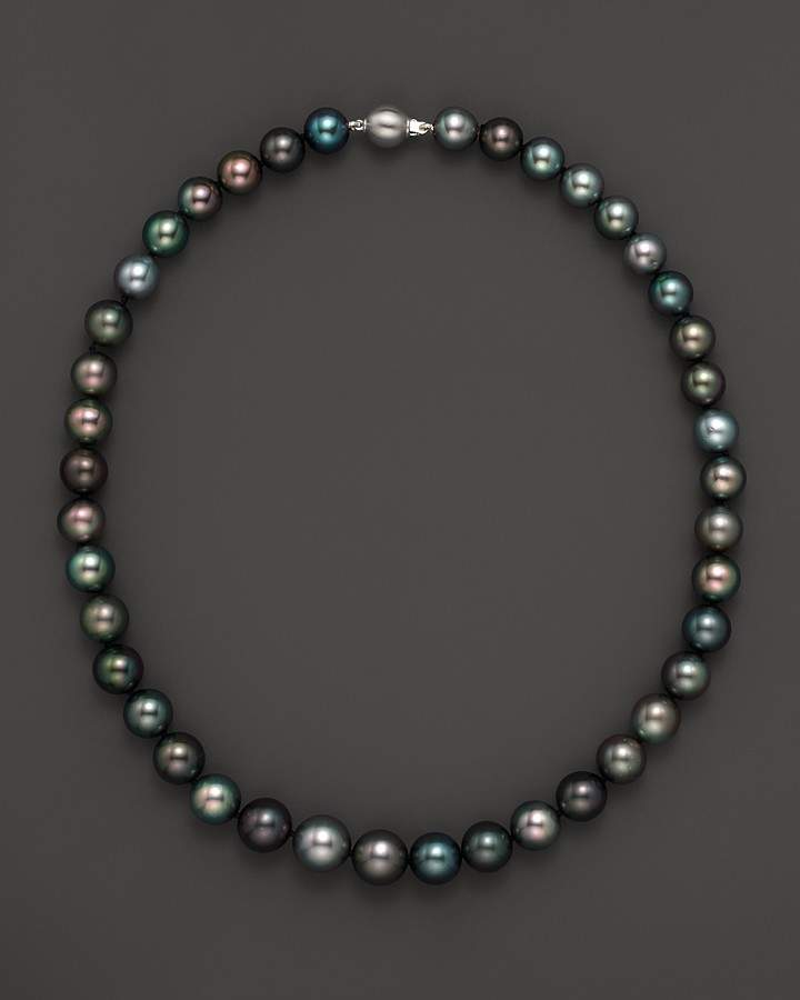 Bloomingdale's Natural Color Tahitian Pearl And 14K White Gold Strand Necklace, 18""