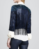 Haute Hippie Flapper Fringe-Trim Beaded Jacket