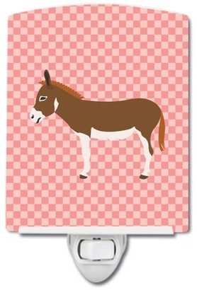 Mini A Ture Miniature Mediterranian Donkey Pink Check Ceramic Night Light