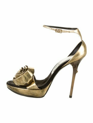 Roger Vivier Patent Leather Sandals Gold