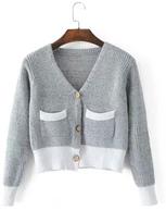 Shein Ribbed Knit Crop Cardigan