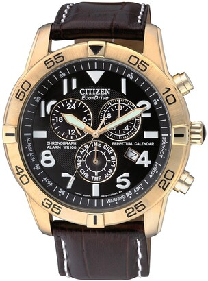 Citizen Men's Eco-Drive Chrono Alarm WR 100m Black Dial Croc Embossed Leather Men's Watch, 44mm