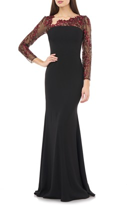 Carmen Marc Valvo Embroidered Long Sleeve Crepe Gown