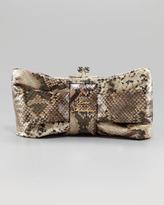 Bow Frame Clutch Bag, Python