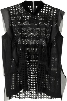 Sacai Lace Embroidered Sleeveless Blouse