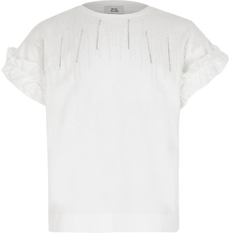 River Island Girls white embellished tassel T-shirt