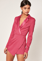Missguided Pink Crepe Tailored Asymmetric Playsuit