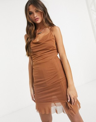 Love & Other Things gathered mesh mini dress in brown