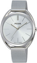 Pulsar Womens Crystal Accent Stainless Steel Bracelet Watch