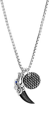 John Hardy Sterling Silver Legends Naga Silver Sheen Obsidian Charm Necklace with Blue Sapphire Eyes, 26