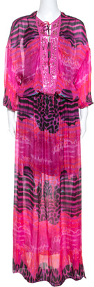 Roberto Cavalli Pink Printed Chiffon Embellished Neckline Detail Maxi Dress S