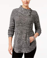 Style&Co. Style & Co Petite Button-Detail Envelope-Neck Sweater, Created for Macy's