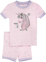 Petit Lem Unicorn Top & Shorts Pajama Set, Pink, Size 5-6X