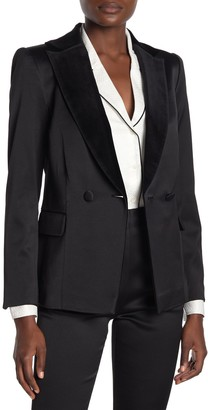 Frame Tux Satin Velvet Notch Collar Blazer
