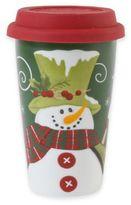 Fitz & Floyd Holly Hat Snowman Travel Mug