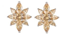 A&M A & M Silver-Tone Champagne Flower Cluster Earrings