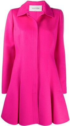 Valentino Pleated Flared Buttoned Coat