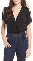 Astr Women's Split Sleeve Surplice Bodysuit