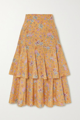ANNA MASON Carmen Tiered Floral-print Cotton-poplin Midi Skirt - Mustard