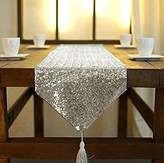 ShinyBeauty Tassel Sequin Table Runner 12x72 for Wedding Dinning Party Table Decoration