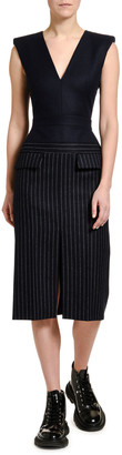 Alexander McQueen Pinstriped Flannel Skirt V-Neck Dress