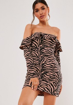 Missguided Stone Zebra Print Bardot Frill Skater Dress