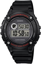 Casio Illuminator Mens Black Bezel Black Resin Strap Digital Watch W216H-1AV