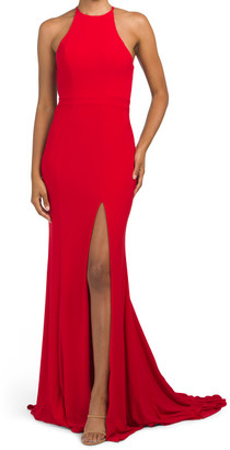 Halter Stretch Gown With Cut Out