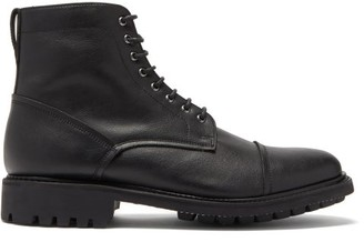 Grenson Joseph Faux-leather Lace-up Boots - Black