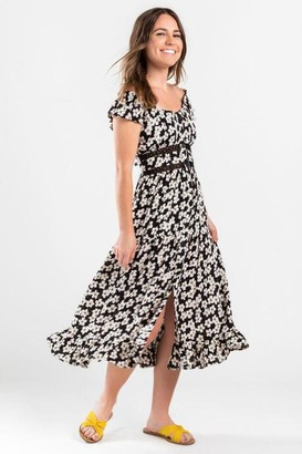 francesca's Hannah Floral Midi Dress - Black