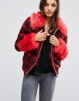 Urban Code Urbancode Checked Bomber Jacket With Faux Fur Collar And Cuffs