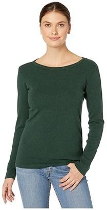 Pendleton Long Sleeve Cotton Rib Crew (Darkest Spruce Heather) Women's Clothing