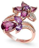 Effy Bordeaux by Multi-Stone (5-1/4 ct. t.w.) and Diamond (1/5 ct. t.w.) Flower Ring in 14k Rose Gold