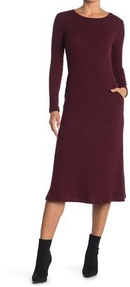 MelloDay Knit Slub Crew Neck Long Sleeve Midi Dress