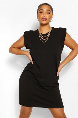 boohoo Plus Jersey Shoulder Pad T-Shirt Dress