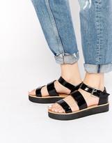 London Rebel Honey Flatform Strap Sandals
