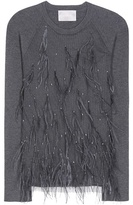 Jason Wu Skye Feather-embellished Wool And Silk-blend Sweater