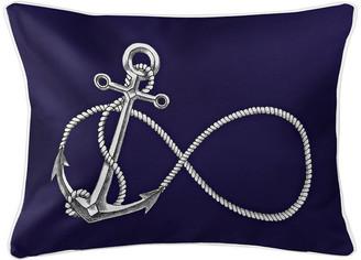 Infinity Anchor Navy Lumbar Pillow